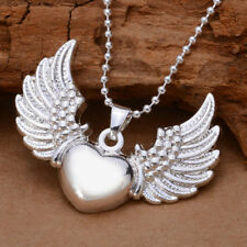 Lady Women Angel Wings Heart Pendant Silver Plated Alloy For Necklace No Chain