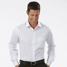 10 MENS PREMIUM WHITE DRESS SHIRTS 100 % COTTON NEW IN PACKAGE 16 1/2 34-35 FC