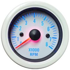52mm Blue LED Backlight Tachometer Gauge (White Face with Stainless Rim)