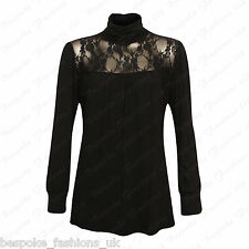 Ladies Women's Polo Gathered Turtle Neck Lace Long Sleeve Party Top Plus 14-28