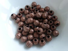 50 x Pumpkin Round Spacer Beads Red Copper Tone 6mm, Beads Findings (MBX0002)