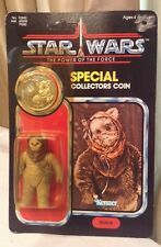 Vintage Star Wars WAROK Action Figure Complete POTF last 17 1984 EWOK WITH COIN