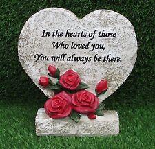 Heart & Rose placa conmemorativa con verso para tumba, jardín o Cementerio Adorno