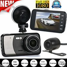 4'' Dual Lens Camera HD 1080P Car DVR Vehicle Video Dash Cam Recorder G-Sensor R