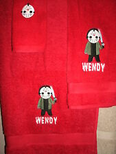 Jason Horror 3 Piece Personalized Bath Towel Set Friday 13th Color Choice