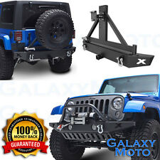 "07-16 Jeep JK Wrangler Front+Rear Bumper+Tire Carrier+OE Fog Light Hole+2"" Hitch"