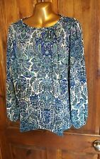 Boguar plus size 22 blue green stretchy long sleeve stretchy tunic blouse top