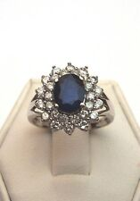 NEW BEAUTIFUL GENUINE BLUE SAPPHIRE AND 1CT GENUINE DIAMOND RING 14K WHITE GOLD