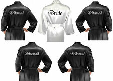 Personalised Set of 5 Bridal Satin Wedding Robe / Dressing Gowns Black & White