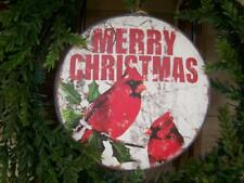 """NWT 8"""" Post Card Scene Red Cardinal Holly Metal CHRISTMAS Domed Disk Ornament"""