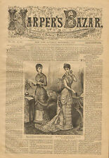 Victorian, Fashions, Paris, Silk Evening Dresses, Vintage, 1879 Antique, Print,
