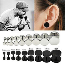1Pair Unisex Women Men Ear Stud Gothic Punk Barbell Dumbbell Design Earring 8mm