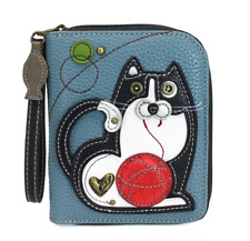 NEW CHALA FAT CAT KITTEN ZIPPERED WALLET BLUE WHITE BLACK