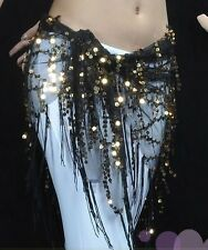 Belly Dance Triangle Beaded sequin Hip Scarf Wrap Belt - Black/gold