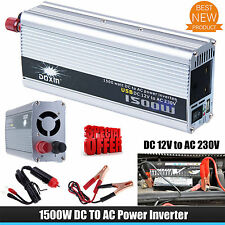 1500W Auto Power Inverter Converter Modified Sine Wave Car DC 12V to AC 230V UK