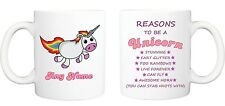 REASONS TO BE UNICORN MUG funny novelty tea coffee gift womens mens office xmas