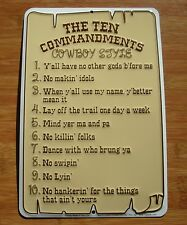 THE TEN 10 COMMANDMENTS COWBOY STYLE Horse Ranch Rope Sign Farm Home Decor NEW