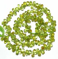 NG2069f Green Peridot Hand-Cut 6x3 Top-Drilled Teardrop Gemstone Beads 14""