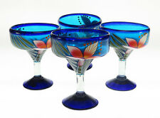 Mexican Margarita Glasses, hand blown, hand painted ORCHID design (4)