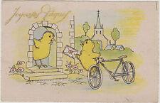 """CPA FANTAISIE JOYEUSES PAQUES/HAPPY EASTER/POUSSIN""""FACTEUR""""LETTRE/BICYCLETTE"""