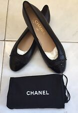 Authentic Chanel Ballet Flats, Black, Size 38 1/2