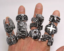 Retro 10pcs Big Gothic Skull Carved Biker Mixed Styles Men Anti-Silver Rings New