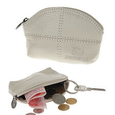 Women Genuine Leather Change Purse Mini Wallet Key Pouch Coin Bag Gift In Beige