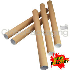 100 x A1 Quality Postal Cardboard Poster Tubes Size 630mm x 50mm + End Caps 24HR
