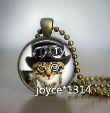 Vintage cat Cabochon bronze Glass Chain Pendant Necklace *XP-560