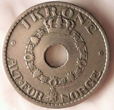 1925 NORWAY KRONE - Excellent High Quality Coin - FREE SHIPPING - Norway Bin #1