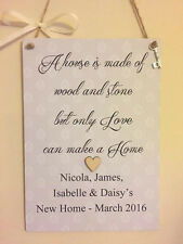 PERSONALISED NEW HOME LOVELY HOUSE WARMING GIFT HANGING WOOD PLAQUE  SIGN HOUSE