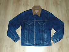Levis Men Vintage Denim Sherpa Lining Fleece Trucker Jacket Jacke Coat Blue Sz L