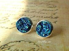 12mm Turquoise blue green Druzy Sparkle round resin cabochon Stud Earrin