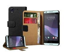 Wallet BLACK Leather Flip Case Cover Pouch Saver For HTC Desire 650