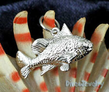 SOLID 925 STERLING SILVER ☣ 3D Spotted / Clown Sweetlip Fish Pendant Necklace
