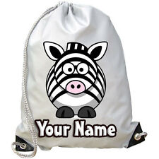 CUTE ZEBRA PERSONALISED KIDS CHILDS GYM / SWIMMING / PE / DANCE BAG *NAMED GIFT*