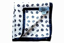 Battisti Pocket Square White with navy paisley, pure silk