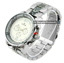 mens big heavy steel business clubbing watch link bracelet snakeskin