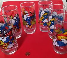 Smurfs Set of 6 Drinking Glasses by Peyo - Vintage 1983 - Hardees - NICE