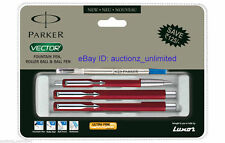 Parker Set Vector Standard CT Combo Roller Ball +Ball Pen +Fountain Pen Red Body
