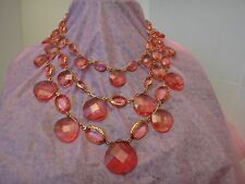 "JOAN RIVERS THREE TIERS PINK GEMSTONES RED CARPET LUXURY 16"" NECKLACE + 3"" EXT."