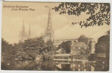 Staffordshire postcard - Lichfield Cathedral from Minster Pool