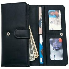 Black Genuine Leather Wallet Ladies Trifold Womens Credit Card Money Holder