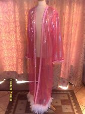 Drag Queen/Cabaret LONG Pink/Silver coat with White feathers 16/18