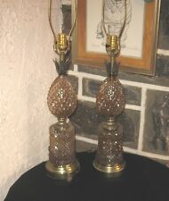Vintage Pineapple glass and brass lamp pair well made sold as is !