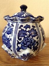 "New Chinese Porcelain Covered Canister Jar, 7.5"" Tall, Blue & White"