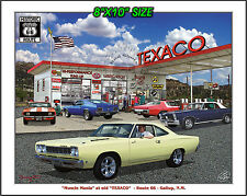 """""""Muscle Mania"""", Old Texaco, Route 66,68Road Runner, 65 GTO, 69 Camaro,70 Mustang"""