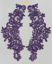2 x brodé Venise Dentelle Paillettes & Perles Applique Bordure motif en violet # 2
