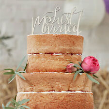 BOHO Wooden Just Married CAKE TOPPER Rustic/Vintage/party Ginger Ray