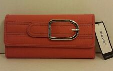 NWT NINE WEST CORAL COLOR CHECK BOOK  WALLET CLUTCH WITH ORGANIZER FOR FEMALE